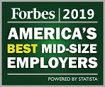 Forbes 2018; America's best mid-size employers!