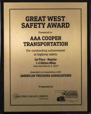 Great West Oklahoma Safety Award